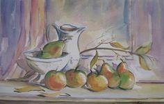 """Evans Fodrini """"Bodegón con jarra y frutera"""" Acuarela sobre papel 35 X 52 cms. Año 1996  http://www.portondesanpedro.com/ver-producto.php?id=11566"""