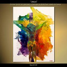 Jesús imprimir color 24 x 18 en la lona estirada por OsnatFineArt