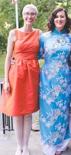 Sisters.  My Vietnamese dress.