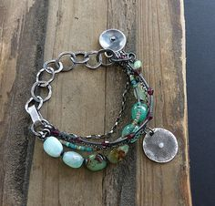 Green Chrysoprase Bracelet and Raw Sterling Silver by COTELLE
