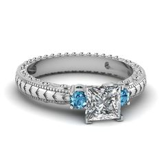 Grass Design Ring || Princess Cut Diamond Three Stone Ring With Ice Blue Topaz In 14k White Gold