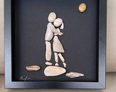 Love wall art, Pebble art gift, Pebble decor, Pebble picture, Feelings