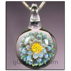 Flower Pendant - Boro Lampwork Glass Necklace Focal by Glass Peace $22.95