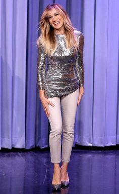 Sarah Jessica Parker in a silver sequin top and white pants