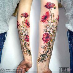 Marya Tyurpeko flower tattoo # Floral tattoo What's Art ? Pretty Tattoos, Love Tattoos, Beautiful Tattoos, Body Art Tattoos, Tatoos, Blue Ink Tattoos, Female Tattoos, Amazing Tattoos, Beautiful Body