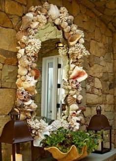 DIY: SHELL MIRROR  YOU CAN FIND SEASHELLS AT STORES OR ONLINE, GET SRONG SUPER GLUE & GLUE EACH SHELL ONTO A MIRROR.