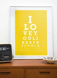 Typography print eyechart poster funny quote art  Pug art  - I love you like a fat pug loves cake A3 A4 11x14 or 8x11 print - choose a color