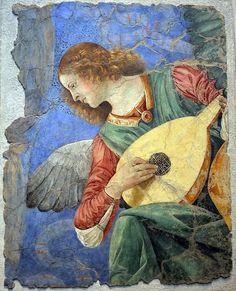 Melozzo da Flori (Italian Renaissance artist, Angel Playing the Lute Renaissance Music, Italian Renaissance Art, Renaissance Artists, Renaissance Paintings, Italian Painters, Italian Art, Angel Art, Tempera, Sacred Art