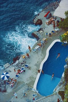 Slim Aarons, Pool On Amalfi Coast (Slim Aarons Estate Edition) | From a unique collection of landscape photography at https://www.1stdibs.com/art/photography/landscape-photography/ #slimaarons #vintagephotography #pool