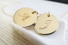 Gold necklace 2 Initial necklace Personalized by RomisJewelry, $44.00