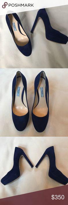 NEW Prada Blue Suede Platform Heels Brand new without box! 100% authentic!! Prada blue suede platform pumps. Size 39. No trades :) make me an offer! Prada Shoes Platforms