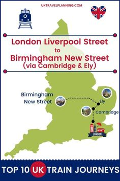 Traveling the UK by rail is a wonderful way to see the country. Check out our top 10 train trips and scenic rail journeys to take across the UK. London Liverpool Street to Birmingham New Street #UK #travel #trains #rail #railway Travel Essentials, Travel Tips, Cambridge London, Manchester Piccadilly, Uk Rail, Birmingham News, Europe Train Travel, Journey Mapping, Liverpool Street