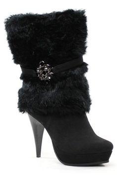Luichiny Fur Sure High Heel Booties In Black - Beyond the Rack