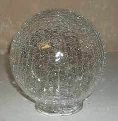 Vintage Clear Crackle Glass Chandelier Light Fixture Sphere Globe Shade