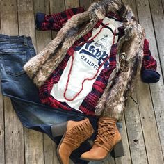 """""""#NEWARRIVALS  #HappyCamper #Top $24.99 M&L #FurVest $54.99 S-L #FlyingMonkey #SkinnyJeans $74.99 26-30 #FreePeople #Booties $198.00 #Plaid #Top $39.99 #Necklace $14.99 #Bracelet $19.99 We #ship! Call to order! 903.322.4316 #shopdcs #goshopdcs #love #shoplocal"""" Photo taken by @daviscountrystore on Instagram, pinned via the InstaPin iOS App! http://www.instapinapp.com (09/28/2015)"""