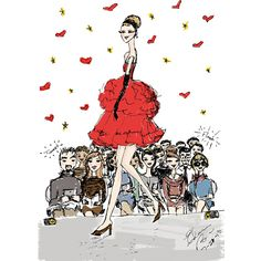 Elaine Biss Lure of the Runway #fashionillustration #fashionillustrator #fashionsketch #fashion #runway #hautecouture #haute #couture #red #elainebiss #tagsforlikes #instafashion #instainspiration #reddress #model