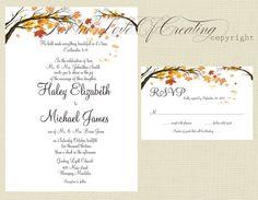 Autumn Wedding Invitation, Printable Wedding Invitation,Fall Tree and Leaves Rustic  Wedding Invitation, Printable, Digital File