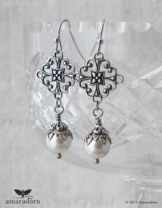 Antiqued Silver Filigree and Ivory Pearl Earrings by Amaradorn