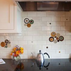Spice up your Subway Tile kitchen! Keep the classic and timeless tile pattern, and add accents of Bubbles to create a unique backsplash full of character!