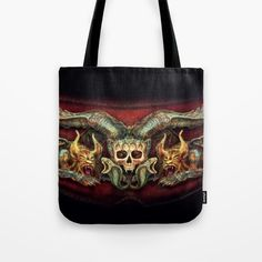 Skull And Beasts Tote Bag by dagmarreneeritter Beast, Reusable Tote Bags, Skull, Backpacks, Stuff To Buy, Fashion, Moda, Fashion Styles, Fasion