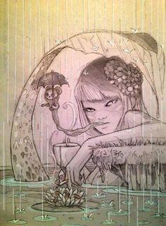 Mermaid, rain, sketch