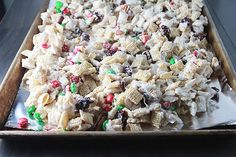 """I call this """"reindeer/Cupid/bunny/turkey/"""" food because I make it all year long for holidays. Melt almond bark and mix with all your favorite snacks. Chex, pretzels, m, nuts, Cheerios..."""