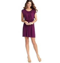 Loft - Dresses: Casual Dresses, Shirt Dresses, Cotton & Sheath Dresses: LOFT - Shirred Neck Tie Waist Dress