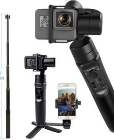 3-Axis Gimbal Stabilizer,S5S Smooth Handheld Pocket Video Camera Stabilizer with Digital Display,Panorama Action Camera Accessories Attachable to Smartphone APP Controls for Time-LapseTracking