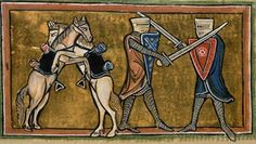 Fighting knights and fighting horses! Interesting that the horses are not shown as stallions - the latter being a common motif in medieval warhorse illustrations.