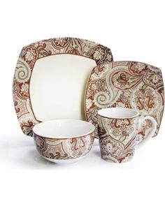 I pinned this 16 Piece Waverly Paddock Shawl Dinnerware Set in Rust from the Cottage Chic Tabletop with Waverly event at Joss and Main! Square Dinnerware Set, Dinnerware Sets, Rustic Farmhouse Table, Table Dimensions, Dinner Sets, Joss And Main, Shades Of Red, Cottage Chic, Tablescapes