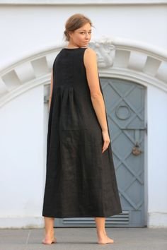bd9d46befac Long linen dress   Maxi white linen dress   Black linen dress ...