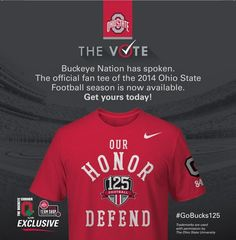 ON SALE NOW! Get yours today! Men's: http://go.osu.edu/2014FBFanTMen Women's: http://go.osu.edu/2014FBFanTWomen #GoBucks125