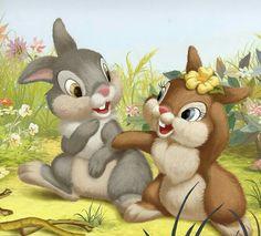 Thumper and Daisy Bambi Disney, Disney Pixar, Cute Disney, Disney Cartoons, Disney Art, Bunny Art, Cute Bunny, Disney Drawings, Cute Drawings