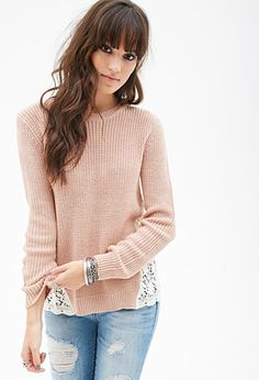 Lace Paneled Sweater | FOREVER21 - 2000138121 size M