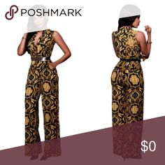 🎉🎉🚨🆕 Black and Yellow Jumpsuit This jumpsuit has button front V neckline of the fitted bodice, sleeveless, side pockets and wide legs ..Comes with matching matching waist belt.  95% polyester 5% Spandex.  🔺M(8-10 🔺L(12-14 Pants Jumpsuits & Rompers