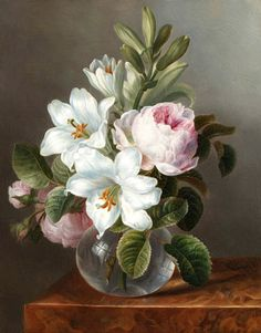 Unknown (Dutch) Roses and Lilies in a Glass Vase on a Stone Ledge 1800