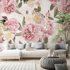 The queen of peonies is back! Check out these beautiful new murals designed by @utart_home 😍 Featured in both delicate lighter tones and bolder dark tones, the made-to-measure wall murals are the perfect addition for bedrooms, living rooms - even home offices !View Uta's full collection at Wallsauce.com!  #decortrends #pinkwallpaper #homedecor #wallpaper #peony #floral Where to buy floral wallpaper. Tropical Wallpaper, Pink Wallpaper, Photo Wallpaper, Design Your Home, All Flowers, Wall Murals, Peonies, Delicate, Lighter