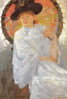 1886 Olga Boznanska (Polish Impressionist painter, 1865-1945) Portret młodej kobiety z czerwoną parasolką