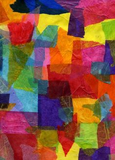 altered art, tissue paper collage - use as raw materials for cutting other shapes eg. hearts for valentines day