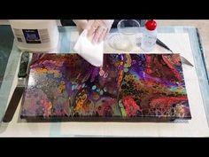 Varnishing With Gloss Medium Acrylic Painting Tips, Acrylic Paint On Wood, Acrylic Pouring Art, Acrylic Resin, Pour Painting, Painting On Wood, Acrylic Paintings, Resin Pour, Fluid Acrylics
