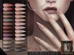 Demon Claws for the Sims 4 Found in TSR Category & 4 Female Rings& Los Sims 4 Mods, Sims 4 Body Mods, Sims 4 Game Mods, Sims 4 Tsr, Sims Cc, Sims 4 Nails, Cc Nails, Vêtement Harris Tweed, Sims 4 Piercings