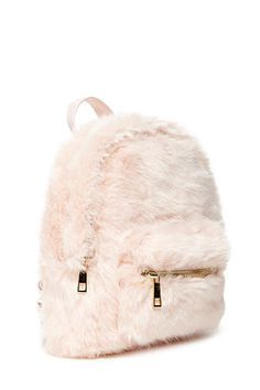 mini backpack crafted from faux fur with a high-polish zip top, one exterior zip pocket, woven adjustable shoulder straps, and one interior compartment. Cute Mini Backpacks, Stylish Backpacks, Girl Backpacks, My Bags, Purses And Bags, Fashion Bags, Fashion Backpack, Fall Fashion, Fashion Outfits