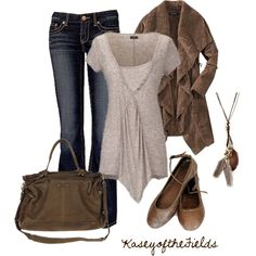 """""""Brown and Grey"""" by kaseyofthefields on Polyvore"""