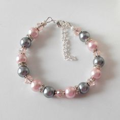 Pink and Gray Bridesmaid Bracelets Pearl by FiveLittleGems on Etsy