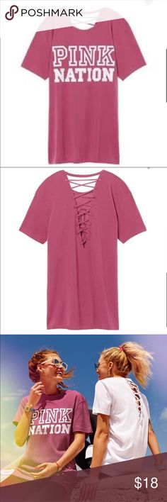 Strappy Back Campus Tee Pink Dahlia Product Details Your #1 fave fit with super cute details for Summer, featuring a strappy back and PINK graphics.  Super oversized fit  Strappy lace-up back Imported cotton PINK Victoria's Secret Tops Tees - Short Sleeve