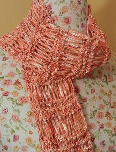 Ladder Ribbon scarf Crochet Pattern   Ribbon Yarn Pattern Photo
