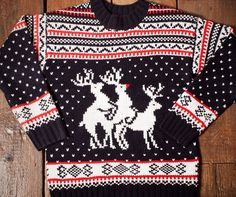 Firebox presents the ultimate ugly Christmas sweater: Rudolph's reindeer threesome. Funny Christmas Jumper, Gag Gifts Christmas, Christmas Town, Christmas Jumpers, Christmas Sweaters, Christmas Ideas, Christmas Lunch, Christmas Movies, Christmas Holidays