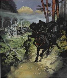 Nazgûl riding as close as they can to Rivendell - Angus McBride