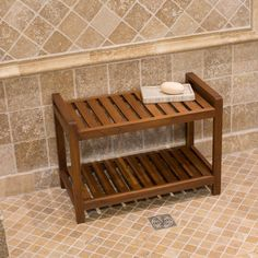 Belham Living Teak Shower Bench - Great for larger showers, the Belham Living Teak Shower Bench provides you with a comfortable seat and storage area all in one. Its handsome look...