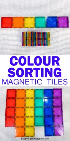Magnetic Tile Colour Sort – HAPPY TODDLER PLAYTIME If your kids absolutely love their magnetic tiles as much as mine do, then they will love this super easy to set up Magnetic Tile Colour Sorting activity and so will you! Preschool Color Activities, Rainbow Activities, Sorting Activities, Indoor Activities, Kindergarten Activities, Learning Activities, Preschool Activities, Toddler Preschool, Sorting Colors
